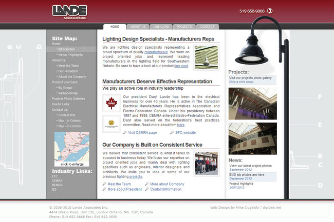 www.lande.ca website displayed on an LCD monitor