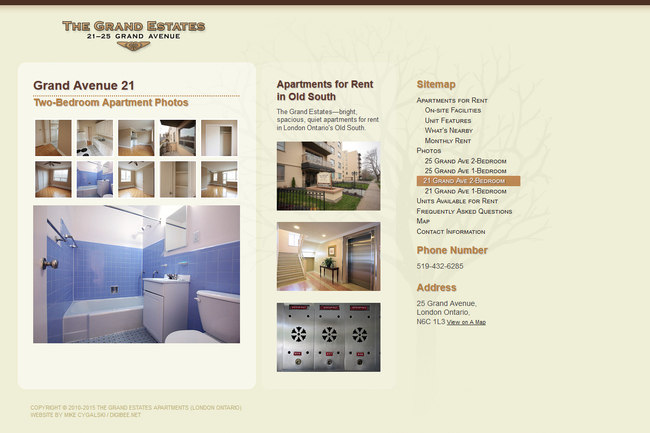 The Grand Estates Apartments website screenshot