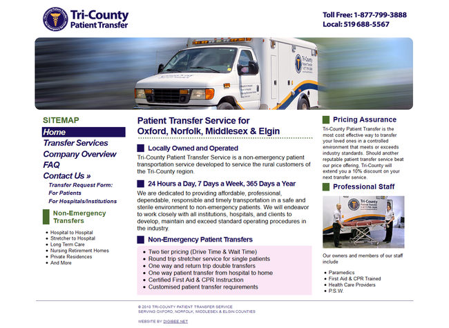 Tri-county Patient Transfer website homepage layout