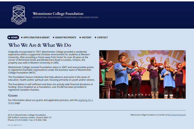 www.wcfoundation.ca website layout on a desktop, a screenshot